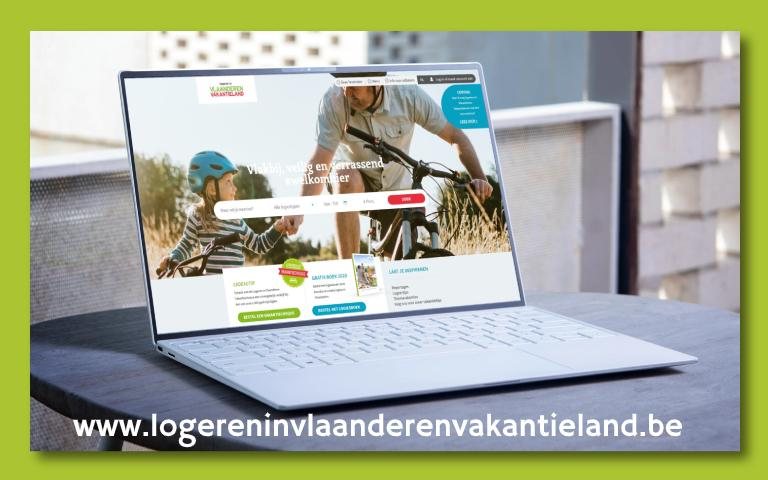 Laptop met homepage Logeren in Vlaanderen Vakantieland website